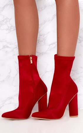 Red Satin Sock Boots