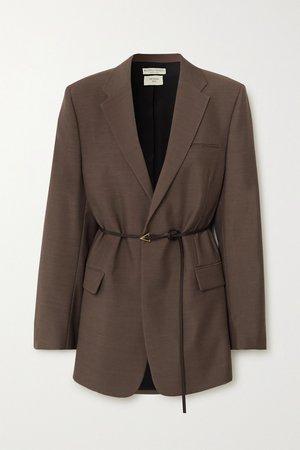 Brown Oversized belted mélange wool blazer   Bottega Veneta   NET-A-PORTER