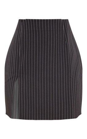 Black Pinstripe Split Detail Mini Skirt | PrettyLittleThing