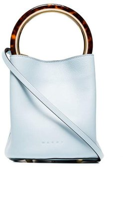 Blue Pannier leather resin handle bucket bag