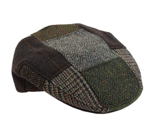 Mucros Men's Patchwork Cap 100% Wool Green & Brown Made in Ireland at Amazon Men's Clothing store:
