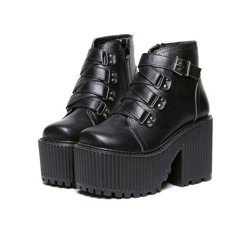 shoes, goth, grunge, boots, motorcycle, gothic boots, goth boots, grunge buckle boots - Wheretoget
