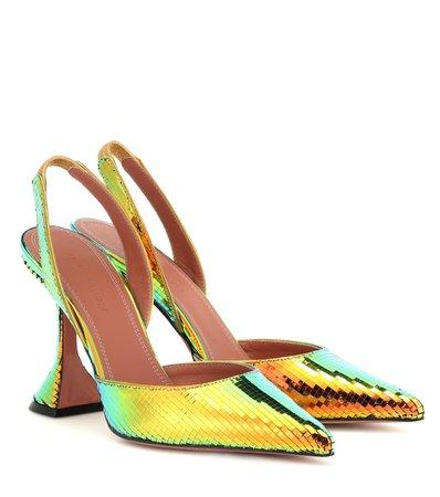 Holli Metallic Slingback Sandals   Amina Muaddi - mytheresa