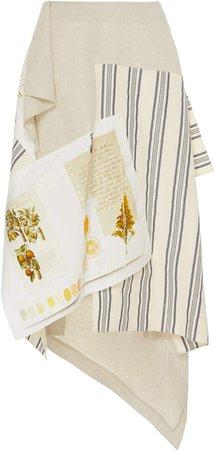 Asymmetric Patchwork Cotton-Blend Midi Skirt