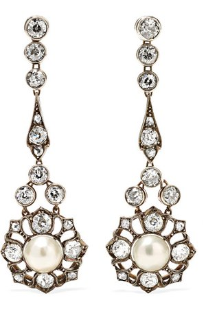 Fred Leighton | Antique gold-plated, diamond and pearl clip earrings | NET-A-PORTER.COM