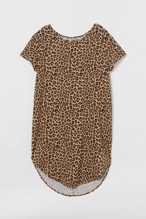 Viscose T-shirt Dress - Beige