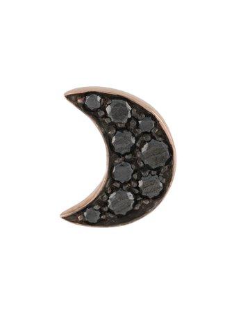 Dodo 9kt rose gold diamond Moon stud earring black & gold DOHLU9BB - Farfetch