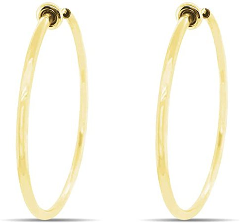 Aloha Earrings - Clip On Hoop Earrings for Women - Silver and Gold-Tone Brass Spring Hoops for Non-Pierced Ears (Gold Large): Clothing