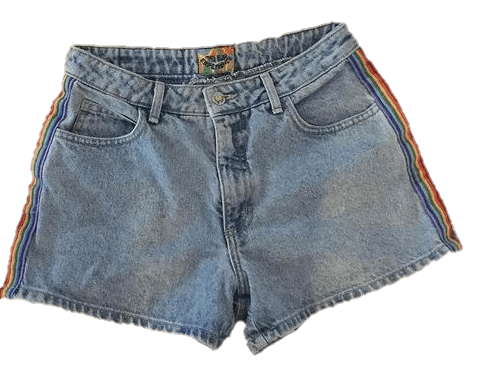 rainbow denim shorts
