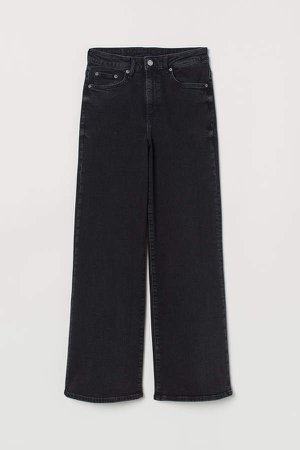 Wide High Ankle Jeans - Black