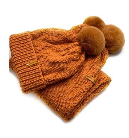 Orange Winter Hat and Scarf by KnittedMittenRU Etsy $85