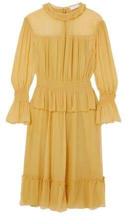 Ruffle-trimmed Crinkled Silk Dress