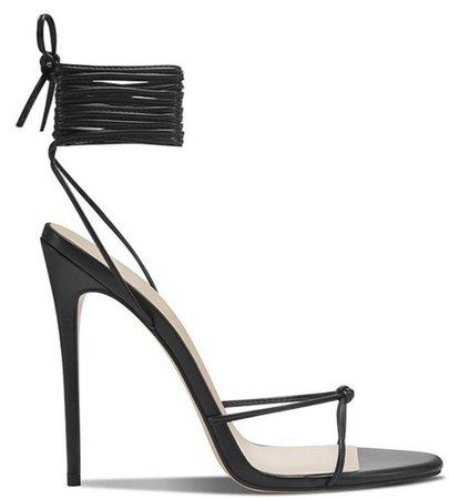 Black LaceUp Heeled Sandal