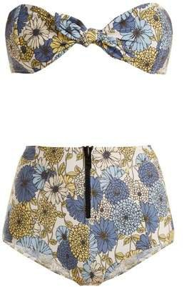 Poppy Floral Print Tie Bikini - Womens - Cream Multi