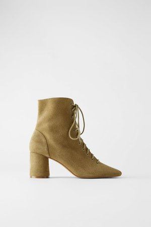 LEATHER LACED HEELED ANKLE BOOTS | ZARA United States brown