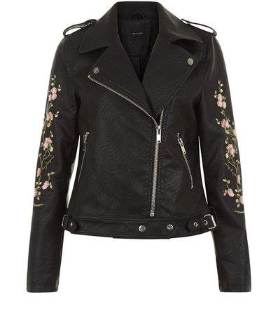 Black Floral Embroidered Leather-Look Biker Jacket | New Look
