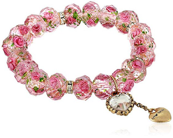 "Betsey Johnson ""Tzarina Princess"" Pink Flower Bead Stretch Bracelet, 2.5"": Betsey Johnson Watch: Jewelry"