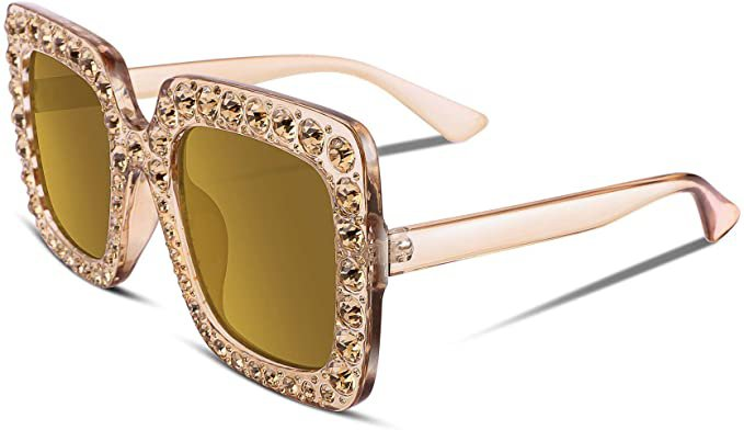 Amazon.com: FEISEDY Women Sparkling Crystal Sunglasses Oversized Square Thick Frame B2283: Clothing
