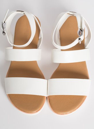 Beach House Ankle Strap Sandals TAN WHITE - GoJane.com