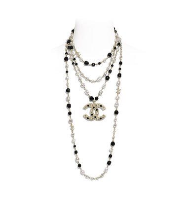 Long Necklace, metal, cultured fresh water pearls, glass pearls & strass, gold, pearly white, black & crystal - CHANEL
