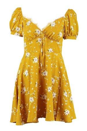 Bohemian Tiered Bustier Tea Dress | Boohoo