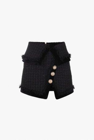 Fringed Black Tweed Wraparound Skirt | Balmain