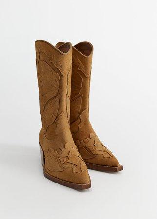 Cowboy leather boots - Women | Mango United Kingdom