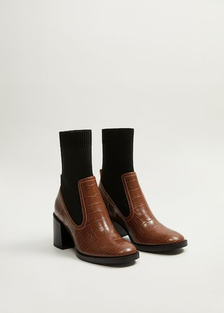 Stretched contrast ankle boots - Women | Mango USA