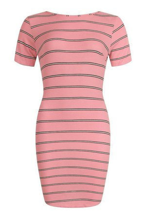 Striped Rib Bodycon Dress | boohoo