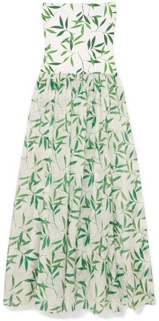 Marianna Printed Stretch-jersey And Voile Maxi Dress - Green
