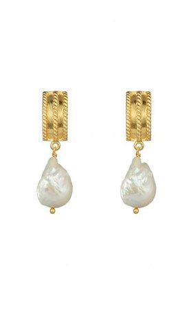 Chloe 24k Gold-Plated Pearl Earrings By Valére | Moda Operandi