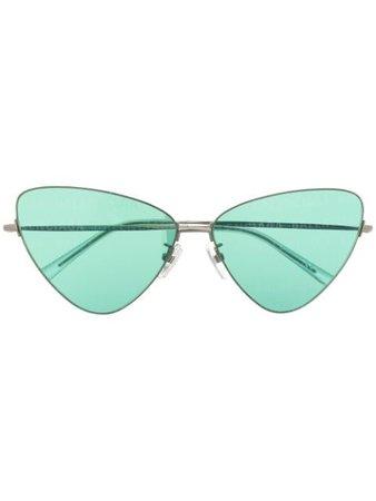 Balenciaga Eyewear Invisible cat-eye frame sunglasses silver & green BB0148S - Farfetch