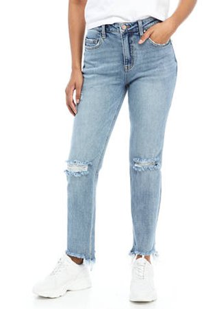 Wonderly High Rise Distressed Straight Leg Jeans