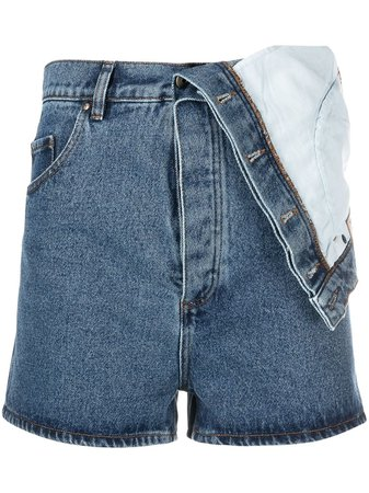 Shop blue Y/Project Evergreen Classic asymmetric denim shorts with Express Delivery - Farfetch