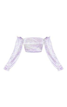 Petite Lilac Oriental Long Sleeve Crop Top   PrettyLittleThing