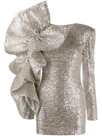 Loulou, Ruffled Sequin Mini Dress