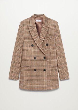 Wrap check suit blazer - Women | Mango USA