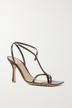 Studded Leather Sandals - Brown