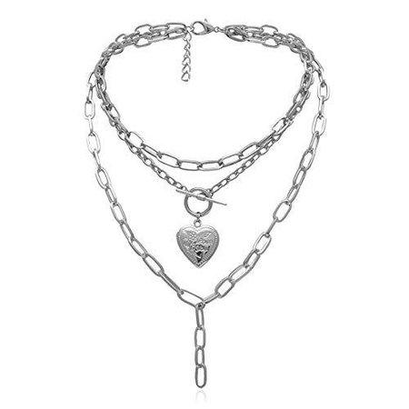 Ingemark Statement Cool Punk Chunky Chain Toggle Necklace for Women Girls Heart Shaped Photo Locket Pendant Layered Heart Locket Necklace (Style 3 Silver) - PRTYA