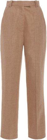 Acler Belvue High-Waist Linen-Blend Pants