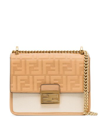 Fendi Neutral Kan U Panelled Shoulder Bag