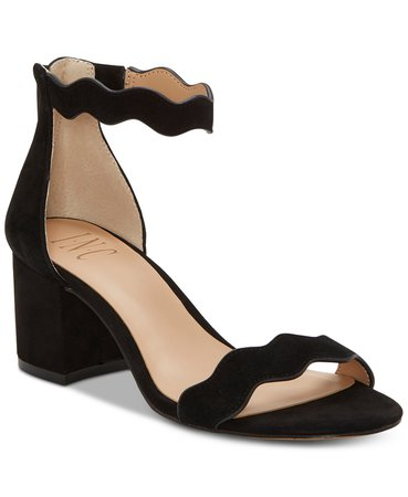 INC International Concepts INC Women's Hadwin Scallop Two-Piece Sandals, Created for Macy's & Reviews - Heels & Pumps - Shoes - Macy's black