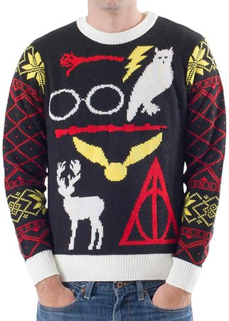 Amazon.com: Harry Potter Owl Deathly Hallows Sign Black Ugly Christmas Sweater (Adult Large): Clothing