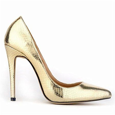 Gold snakeskin heels