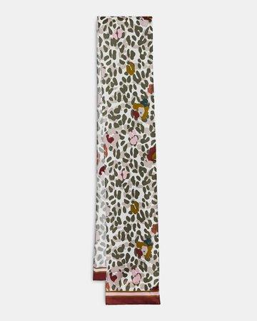 Leopard skinny silk scarf - Taupe | Scarves | Ted Baker