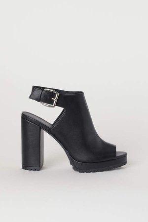 Open-toe Boots - Black