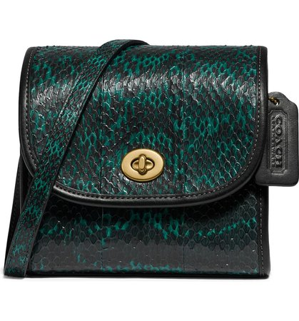 COACH Originals Genuine Snakeskin & Leather Turnlock Lunchbox Pouch | Nordstrom