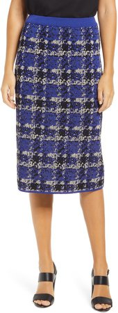Plaid Knit Pencil Skirt
