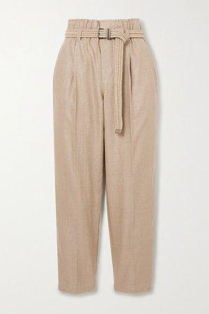 Belted Cropped Linen-blend Straight-leg Pants - Light brown