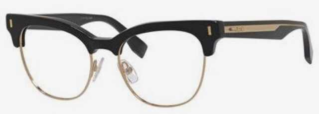 fendi half rimmed rim half-rim glasses eyeglasses opticals black